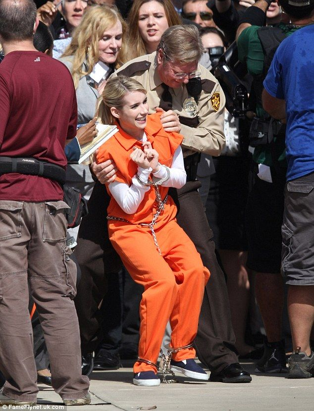 c525b249946 Stars of Scream Queens spotted filming in orange prison jumpsuits ...