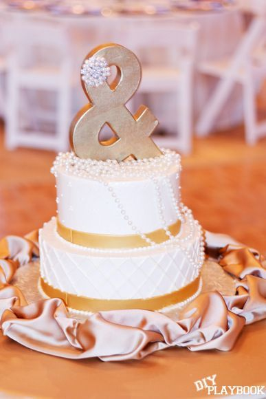 DIY Cake Topper for less than $10! Gold, glamorous, and totally original.