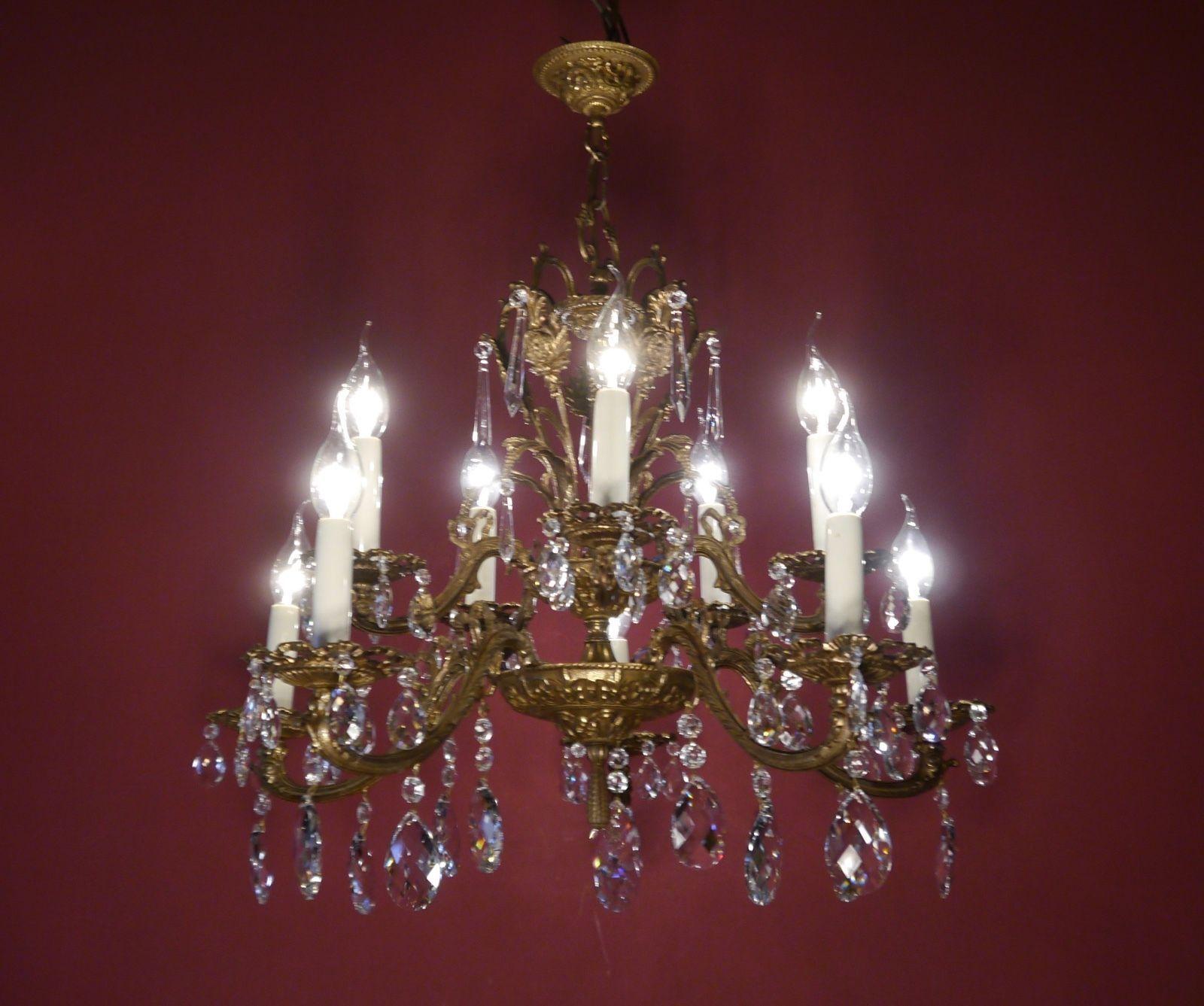 FINE HEART SHAPE CHANDELIER CRYSTAL GLASS VINTAGE OLD LAMP BRASS - Chandelier crystals ebay