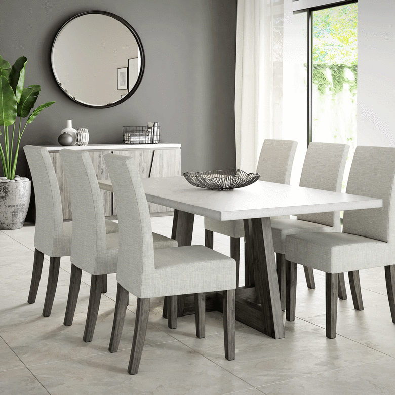 The Austin Dining Table Offers Clean Lines With A Concrete Table Top And Solid Acacia Wood Frame Its Dinning Room Design Dinning Room Chairs Grey Dining Room