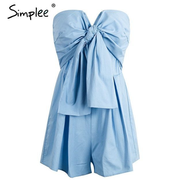 ef16032b4e7 Bow tube top ruched rompers womens jumpsuit Casual high waist chic short  Summer streatwear blue playsuit
