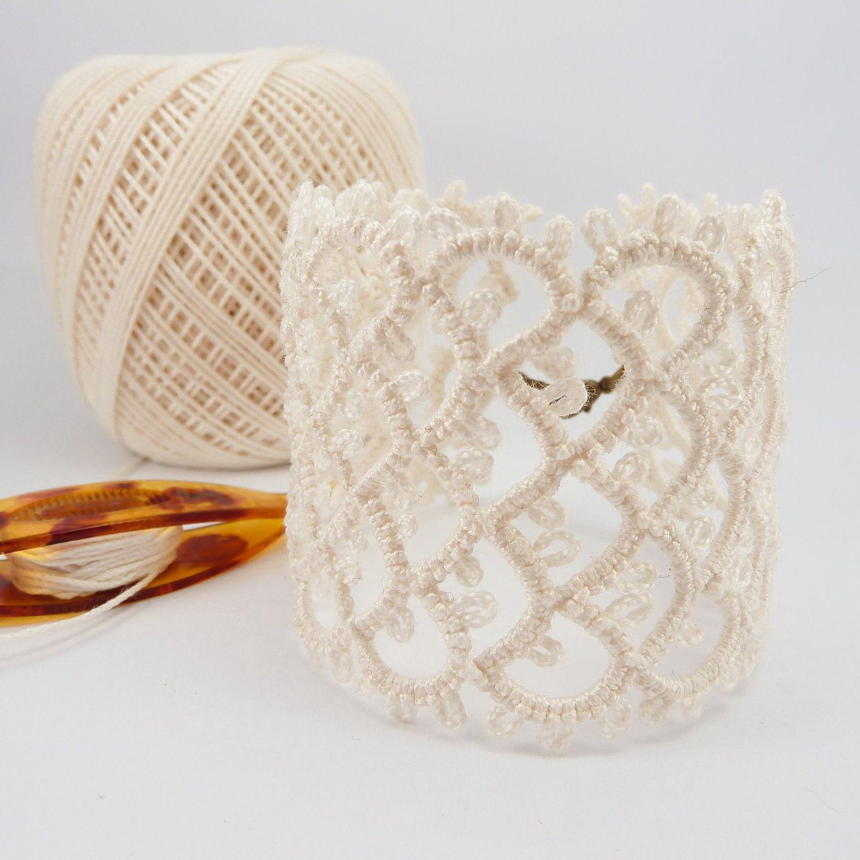 tatted lace cuff bracelet. #tatting #tatted #tat #lace | frivolitás ...