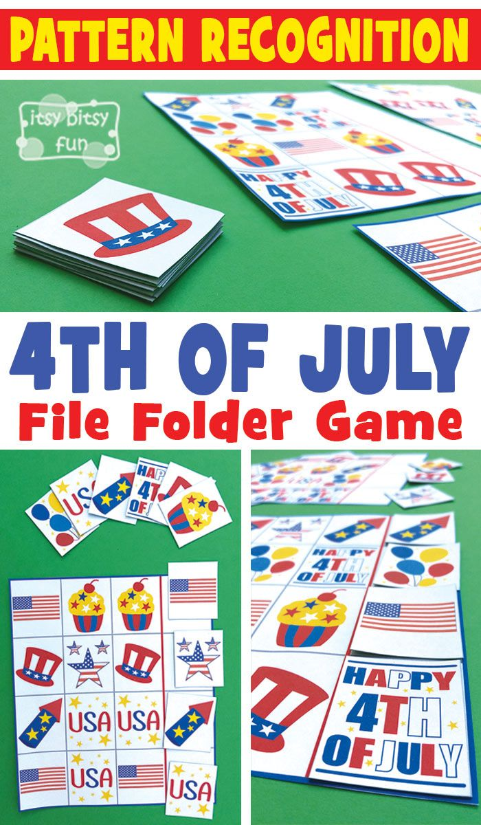 4th of July Pattern Recognition File Folder Game | Pinterest
