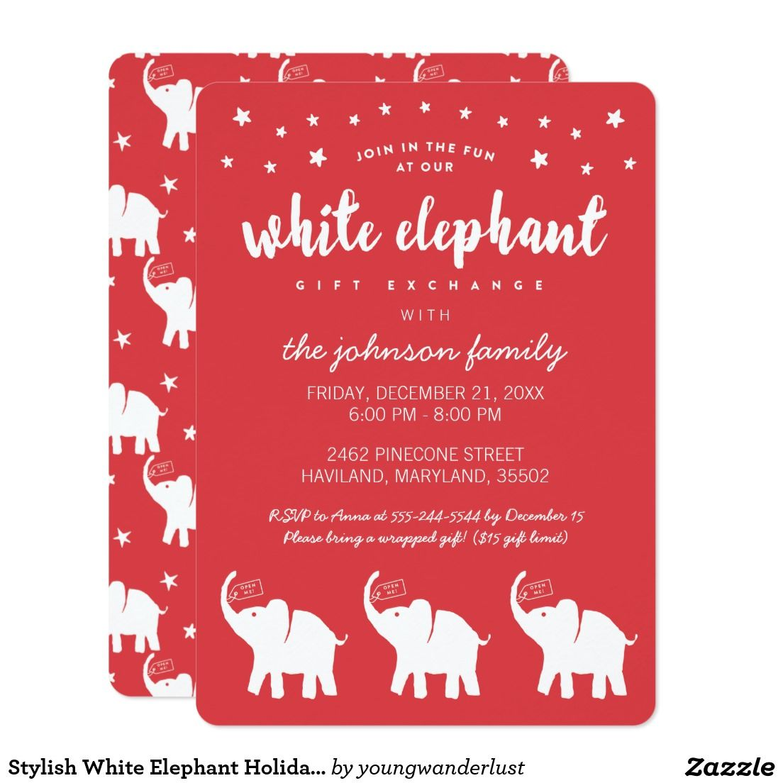 Stylish White Elephant Holiday Party Invitations | Holidays ...