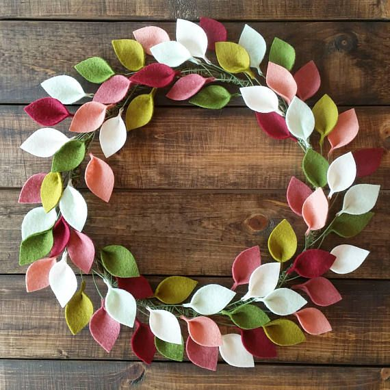 """Photo of Spring Wreath / Front Door Wreaths for Spring / Wool Felt Leaf Wreath in Pink and Green / Made to Order / 16 """"Outside Diameter"""