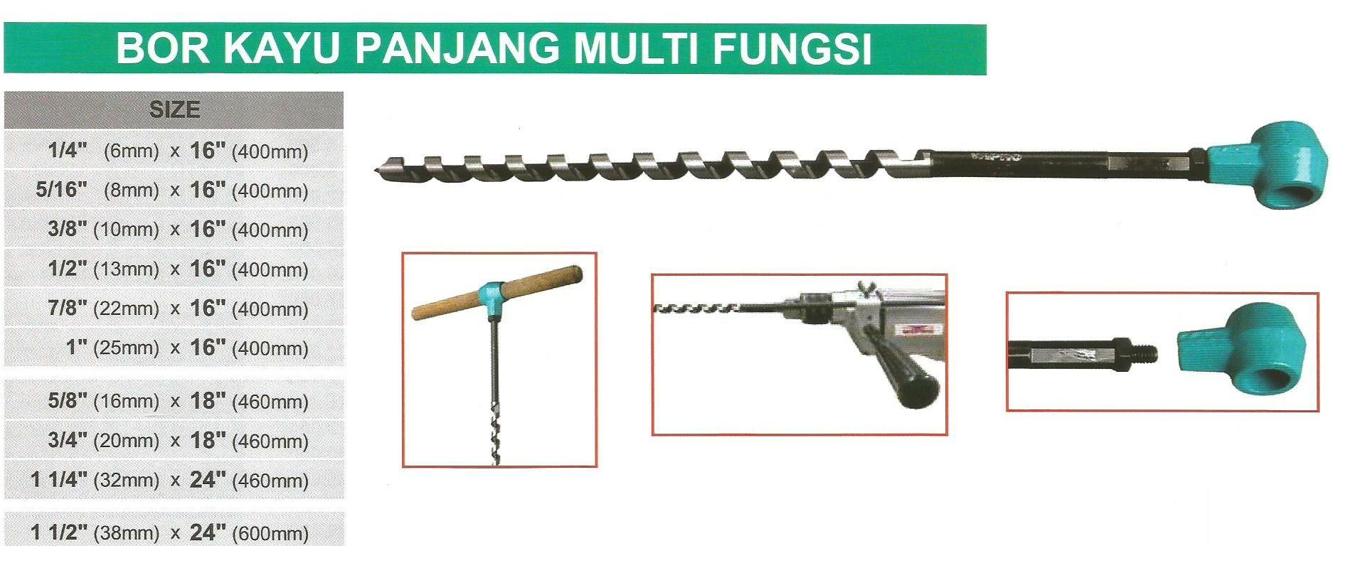 Bor Kayu Panjang Multi Fungsi Size 6 x 400 mm Wipro Ada