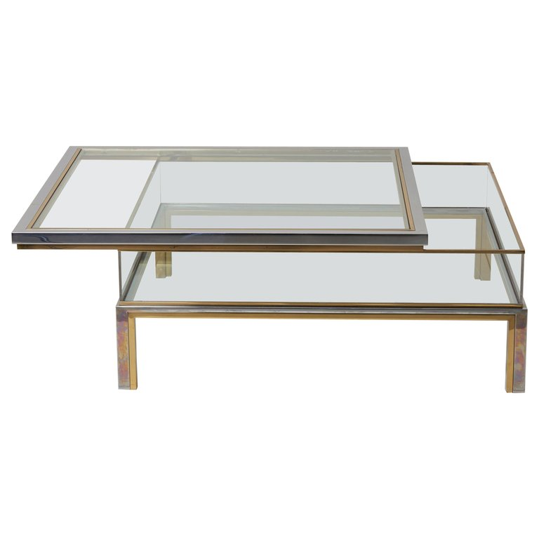 Maison Jansen Sliding Top Coffee Table In Brass And Chrome Brass