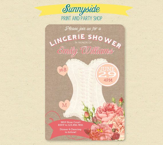 Vintage Peach & Rose Lingerie Shower Invitation - Burlap Lingerie Invite