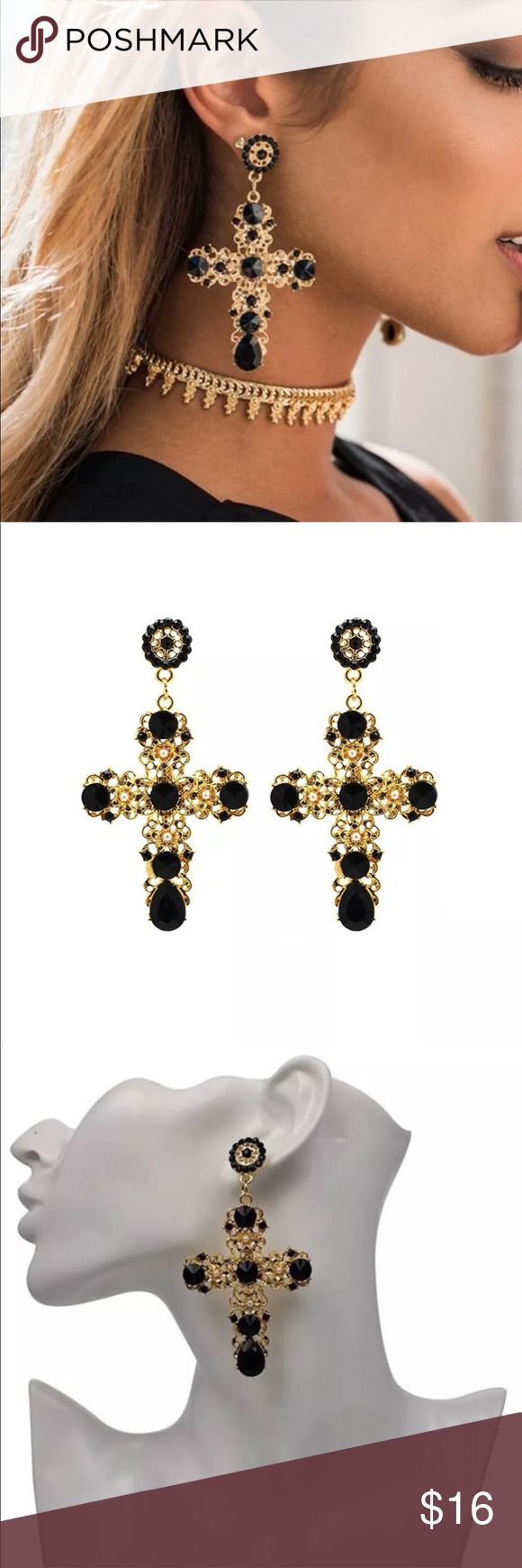Spotted While Ping On Poshmark New Item Oversized Black Gold Cross Earrings Fashion Style Jewelry