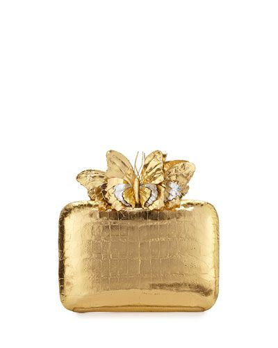 NANCY GONZALEZ Butterfly Crocodile Box Clutch Bag, Gold Mirror. #nancygonzalez #bags #lining #clutch #hand bags #