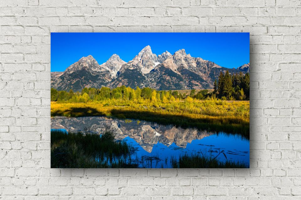 Grand Teton Canvas Wall Art Picture Of Grand Tetons Reflecting Off Water At Schwabachers Landing Wall Art Pictures Grand Tetons Photography Wall Art
