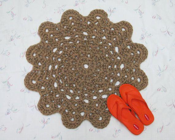 Crochet Jute Flower Area Rug Natural Fiber Floor