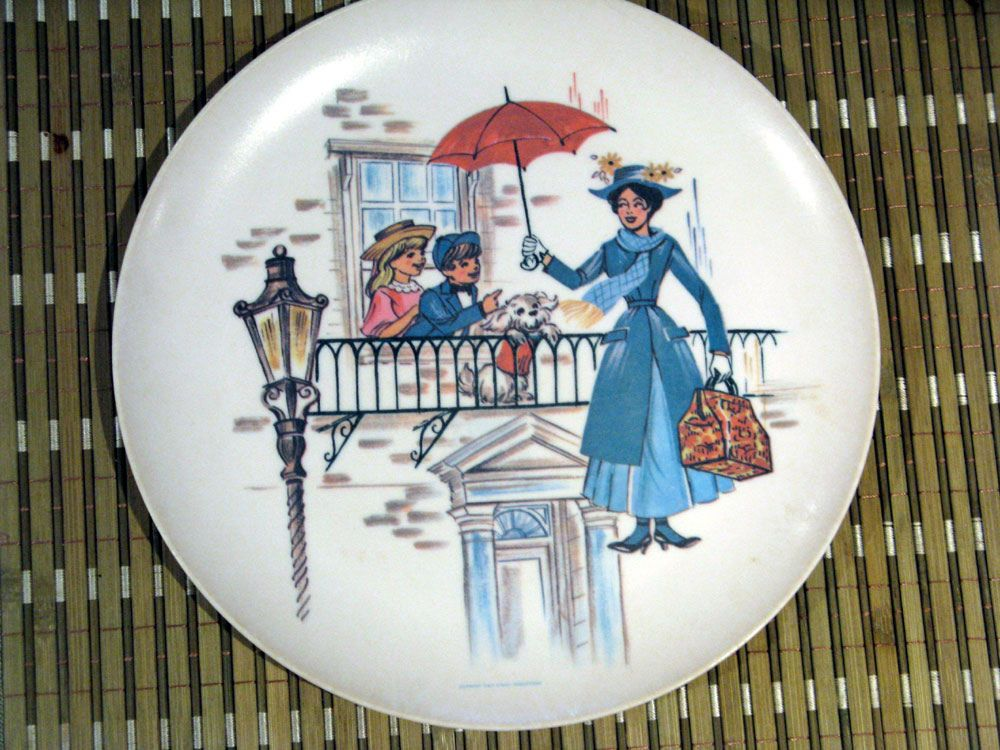 Vintage Disney Mary Poppins Plate By Sun Valley Melmac Vintage