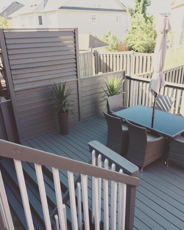 Beautiful Neutral Color Scheme Deck With Louvered Privacy
