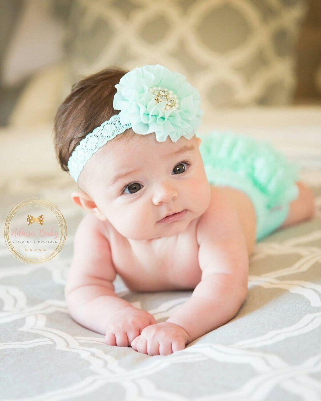 Vintage Baby Headband Baptism Headband Infant Headband Christening Headband  Toddler Headband Newborn Headband Mint Headband Aqua Headband by AdassaBaby  on ... 6ca79df54ae