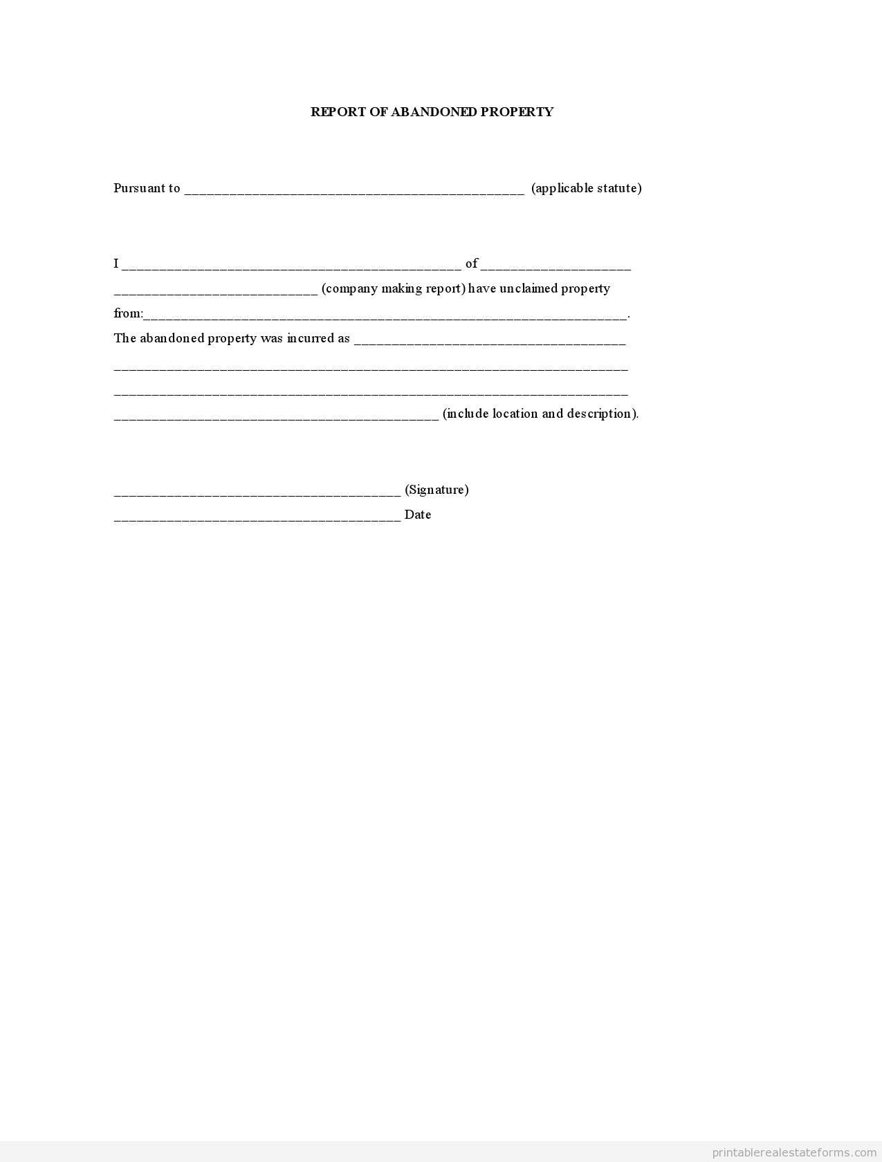 Sample Printable Report Of Abandoned Property Form  Sample Real