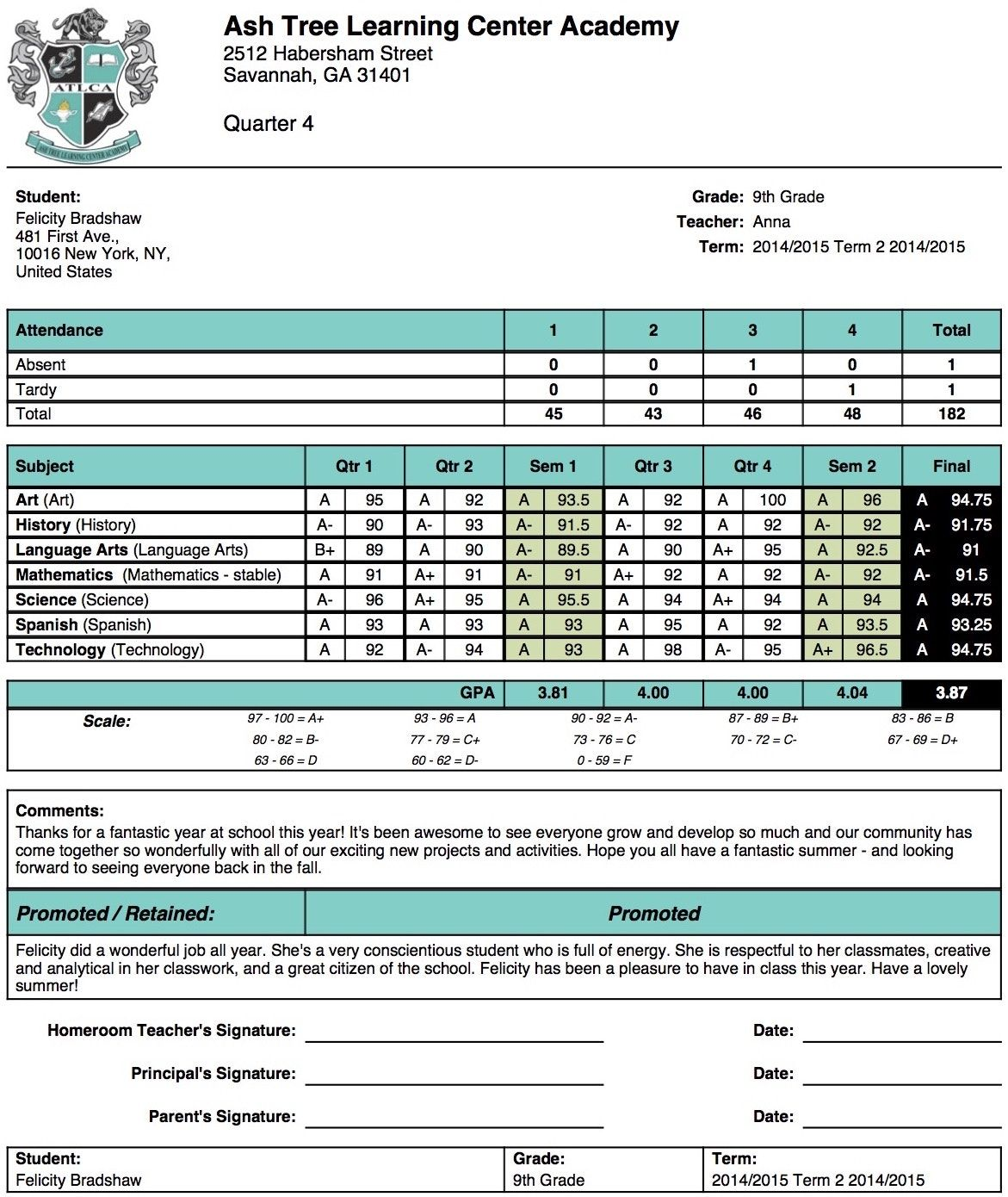 High school report card template free report card