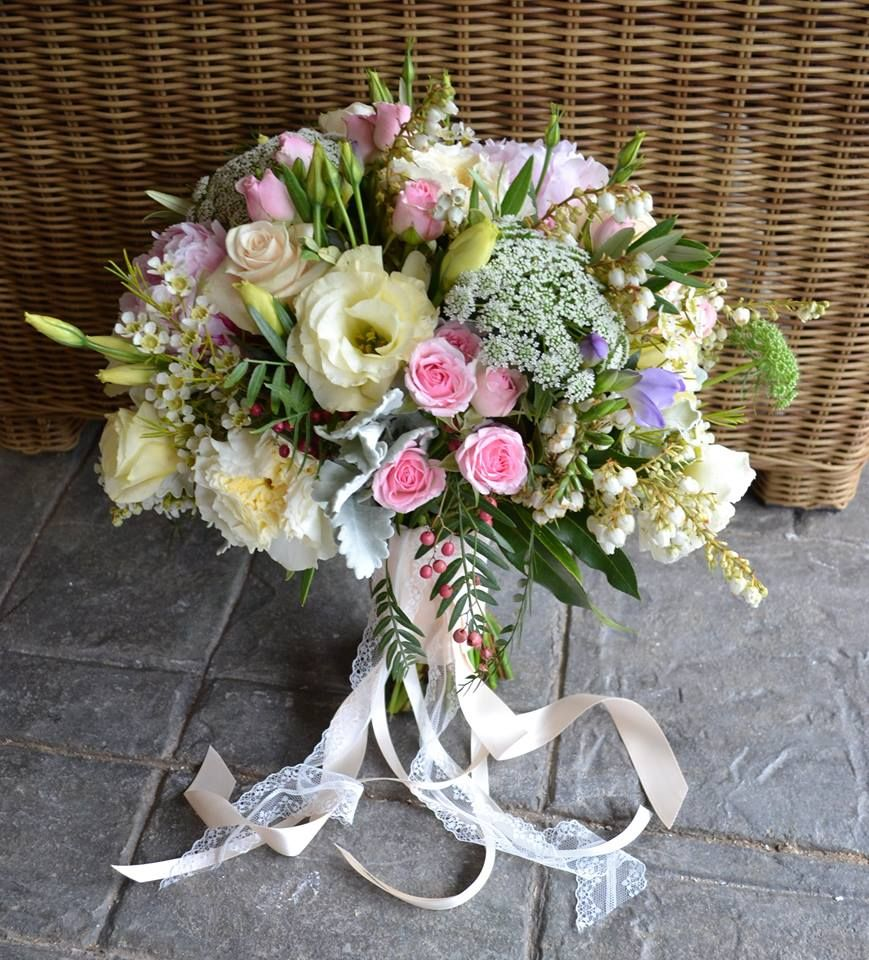 Divine Wedding Flowers: Divine Oval Shaped Bouquet In Ivory And Pale Pink Shades