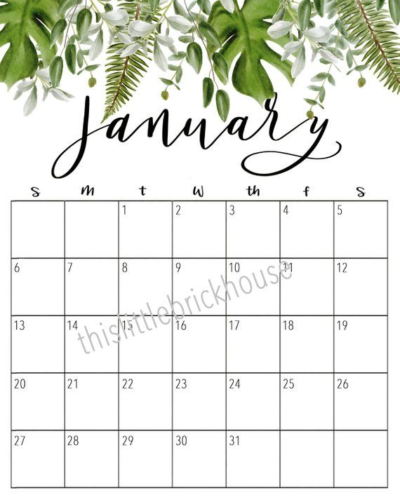 Formen Magazine Calendario 2020.Monthly Calendar 2019 2020 Diy Printable 24 Month Watercolor