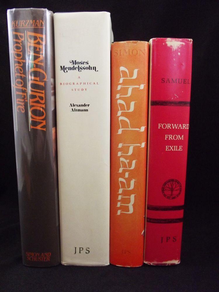 Lot of 4 Biographies Judaism Ben-Gurion Levin Moses Mendelssohn Ahad Ha-am Simon