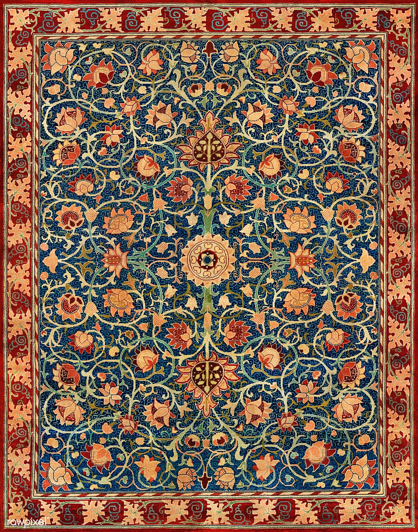 Holland Park Carpet By William Morris 1834 1896 Original From The Met Museum Digitally Enhanced By Rawpix In 2020 William Morris William Morris Designs Holland Park