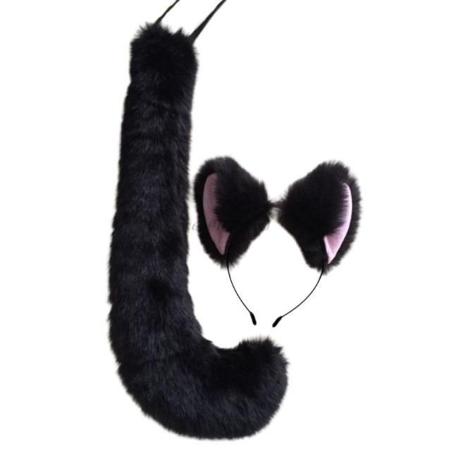 Photo of Adult Kids Anime Solid Color Plush Cat Wolf Cosplay Props Animal Ears Bandana Long Tail Halloween Lolita Costume – Black