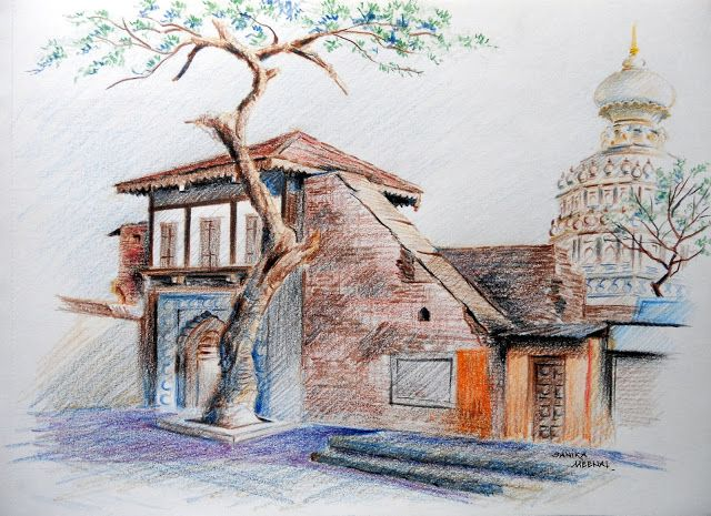 Arteworld by sanika dhanorkar colour pencils sketch nageshwar mandir somwar pe