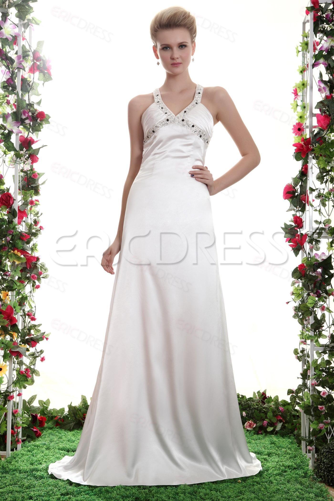 Halter top wedding dresses plus size  ColumnTrainSheath Halter top Sweeping Train Satin Yanaus Bridesmaid