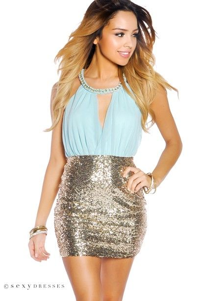 Tiffany Blue and Gold Sequin Party Dress with Chain Neck Wrap ...