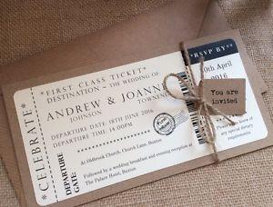 1 Vintage Shabby Chic Style Ticket Wedding Invitation Stationery Sample