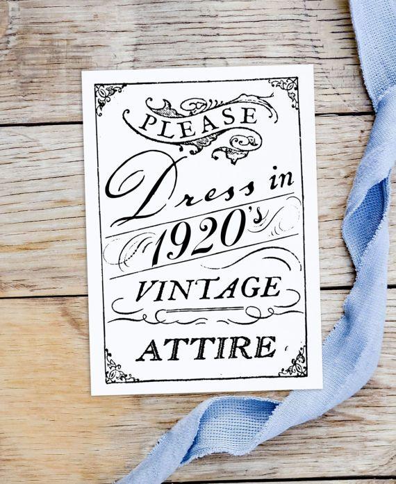 "Vintage Wedding Dress Code Card ""Please Dress In 1920's"