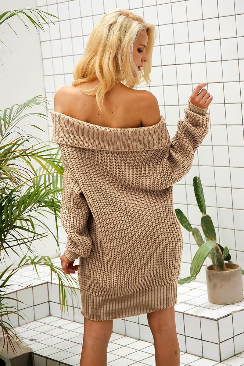 88b60d79d2365f  43.45 - Cool Simplee One shoulder sexy winter dress women Knitted loose  oversized jumper winter dress 2017 Autumn new casual pullover - Buy it Now!