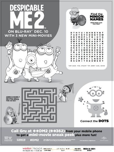 despicable me 2 printable minion activities puzzle page - Activity Pages Printable
