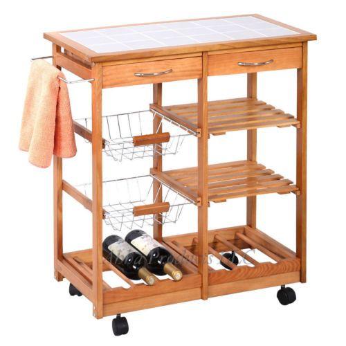 Kitchen Island Trolley wooden rolling kitchen island trolley cart storage drawers wine
