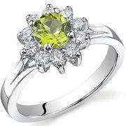 Oravo Ornate Floral 0.50 Carat Peridot Ring in Sterling Silver... Daddy Daughter Ring