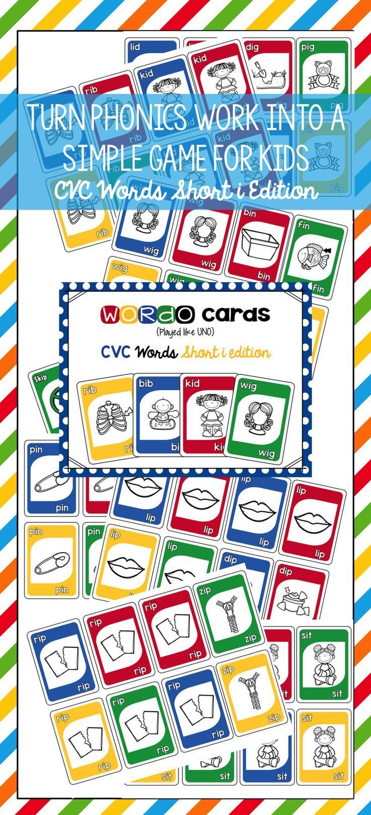 CVC Short i Card Game Cvc words, Phonics, Card games