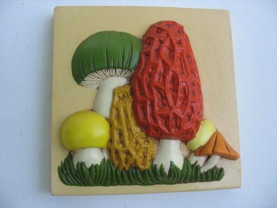 70's mushroom wall plaques chalk ware mushrooms by luckduck