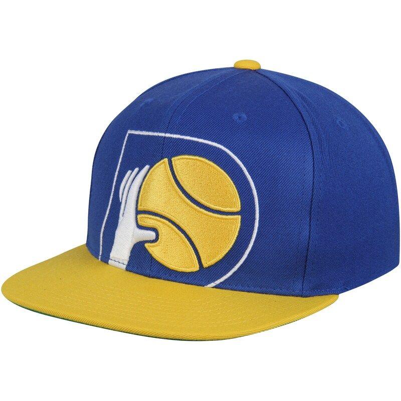 Indiana Pacers Mitchell Ness Hardwood Classics Cropped Xl Logo Snapback Adjustable Hat Navy Gold Indiana Pacers Adjustable Hat Mitchell Ness