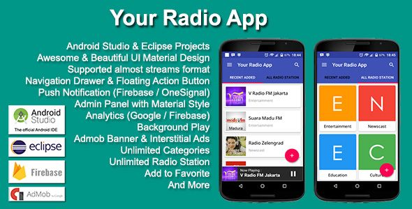Your Radio App   Graphic Art Designs Beautiful   Mobile app