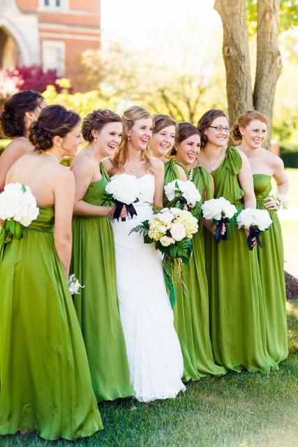 Green Sage Bridesmaids Dresses Flowing And Long With White Bouquets For This Wedding Based In Location Greencastle By Union