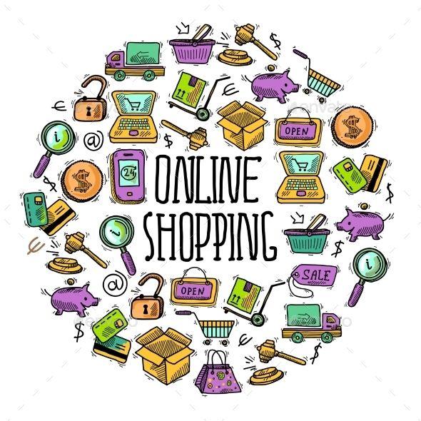 Online Shopping Circle Background Design Background Design Vector Online Shop Design Ecommerce background images for online