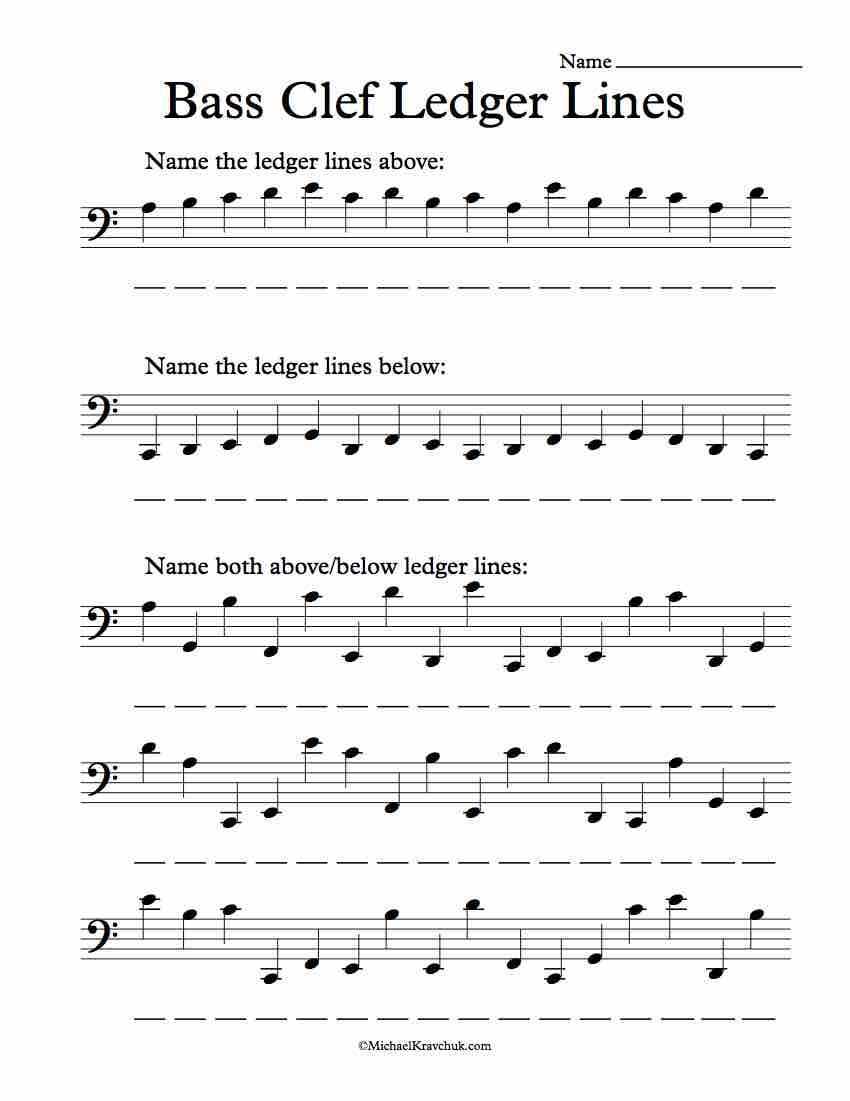 Workbooks violin note reading worksheets : Free Bas Clef Ledger Lines Note Recognition Worksheet | Piano ...