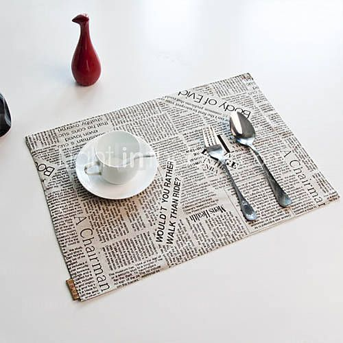 22 99 Set Of 6 Newspaper Style Placemats Placemats Settings Style