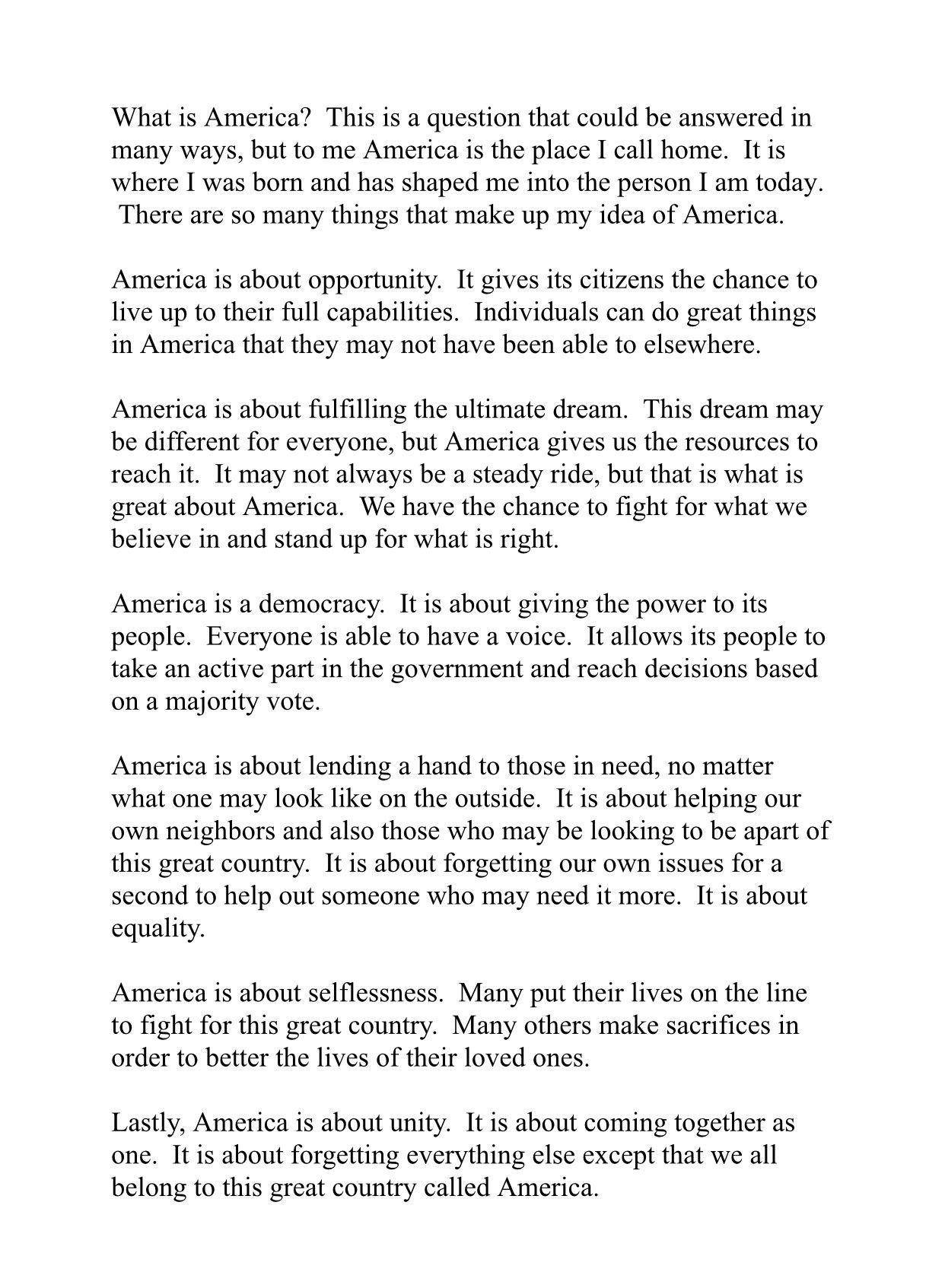 Essay What I America Myself Voice Of Democracy Winning Example
