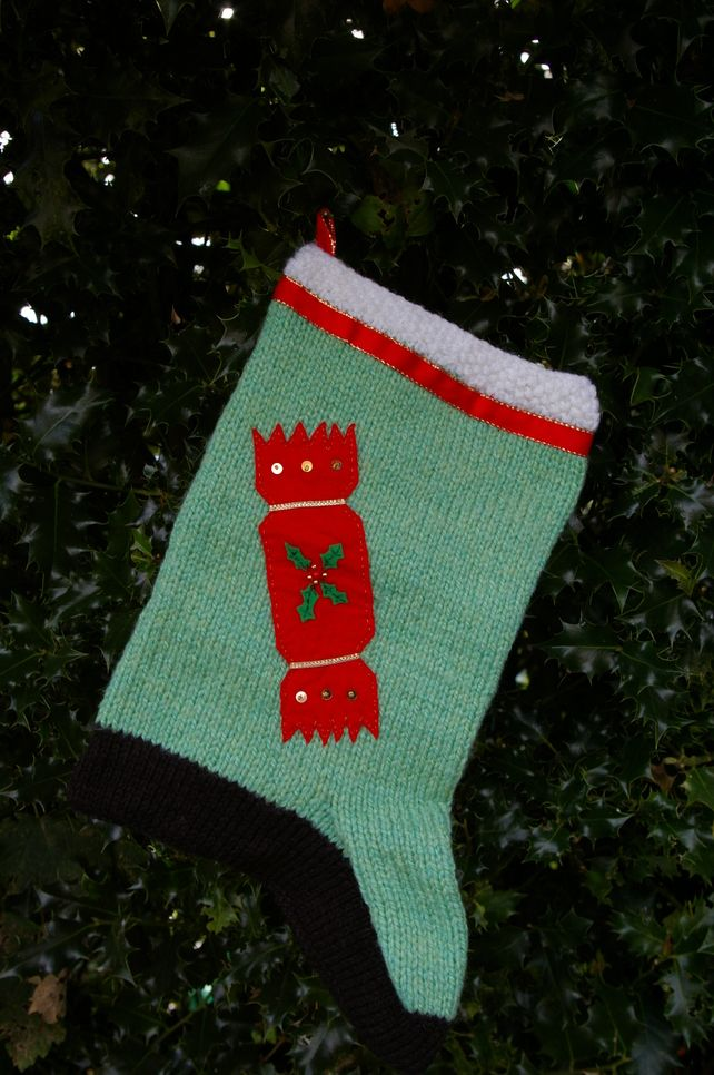 Christmas Stocking hand knitted with applique work £10.00