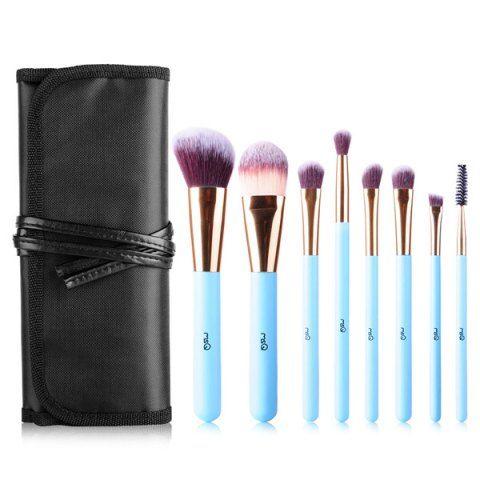 stylish 8 pcs fiber facial eye makeup brushes set with