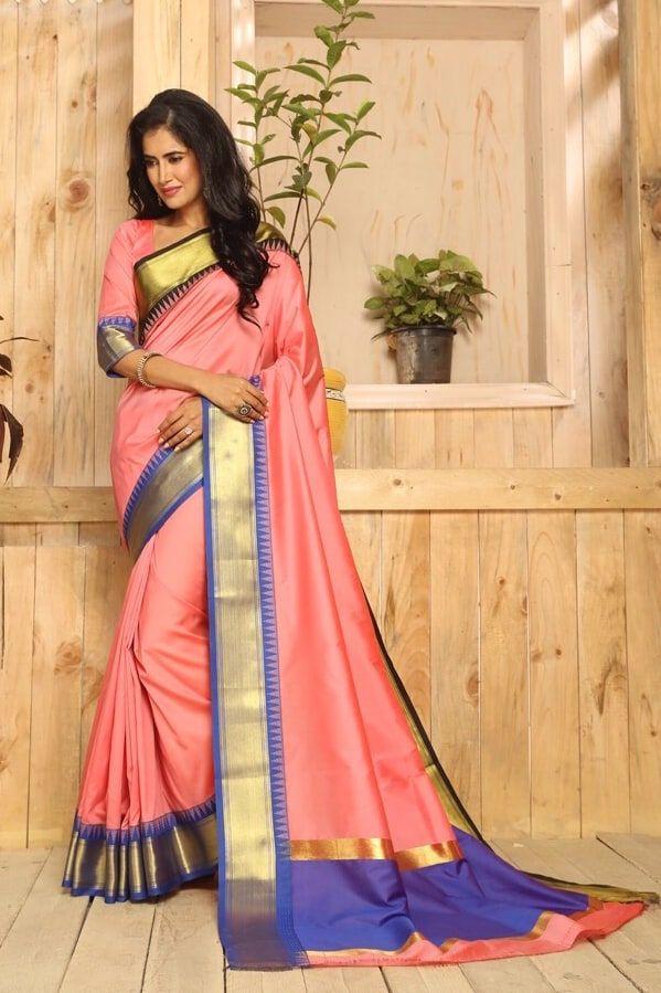 4fbdb22a17 Buy Craftsvilla Peach Color Bangalore Silk Zari Border Traditional Saree  online. ✯ 100% authentic