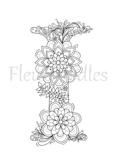 adult coloring page floral letters alphabet I by