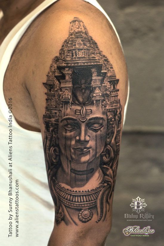 b4d3e7315 Temple of Lord Shiva Tattoo by Sunny Bhanushali at Aliens Tattoo India.  Client traveled interstate