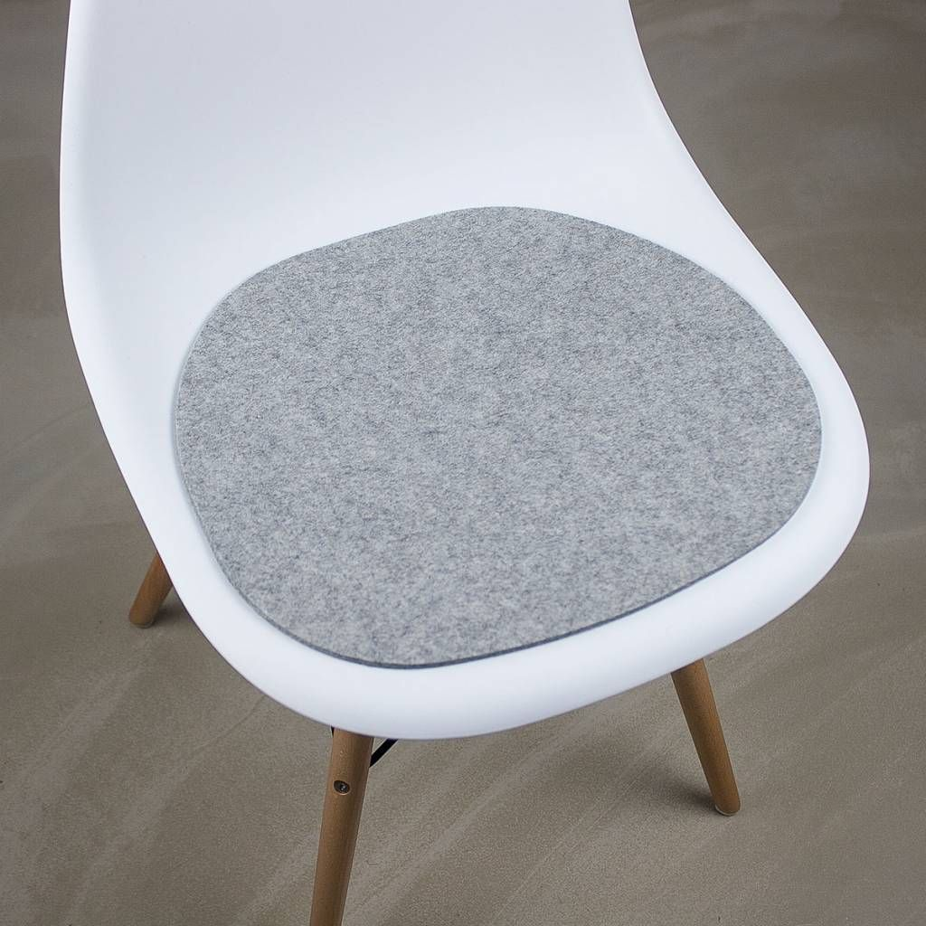 Felt Cushions And Seat Pads Suitable For Eames Plastic Chair Armchair Made From Wool Gray Mixed Are Good Looking Have A Wonderful Feeling